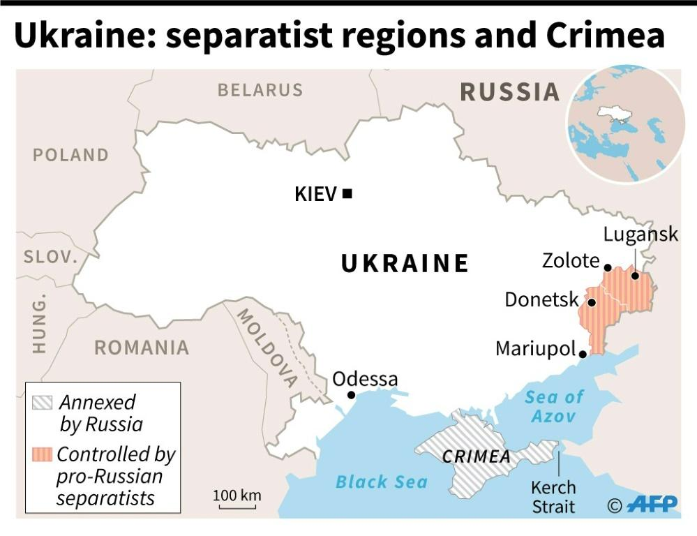 Map of Ukraine showing regions controlled by pro-Russian separatists and Crimea which was annexed by Russia