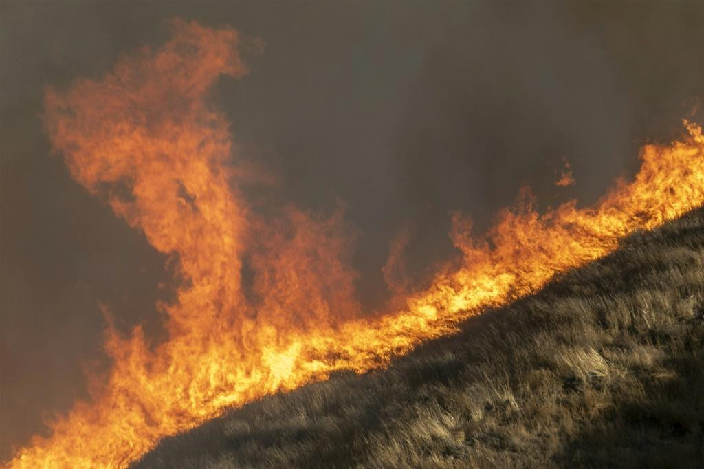 SIMI VALLEY, CA - OCTOBER 30: Strong winds drive the Easy Fire on October 30, 2019 near Simi Valley, California.