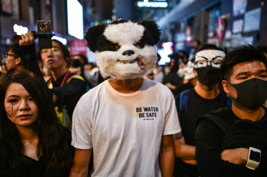 Protesters faced off against police in the Lan Kwai Fong area