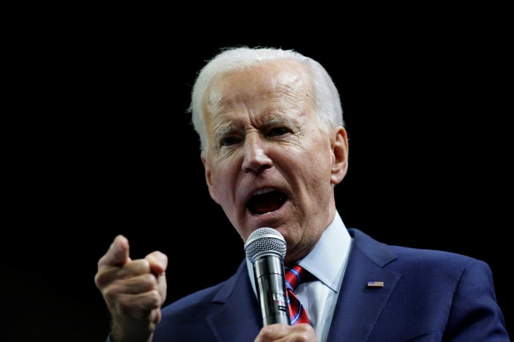 Former vice president Joe Biden still leads in nationwide polls but has slipped to fourth in the important early caucus state of Iowa; here he is seen speaking at an event November 1, 2019 in Des Moines, Iowa