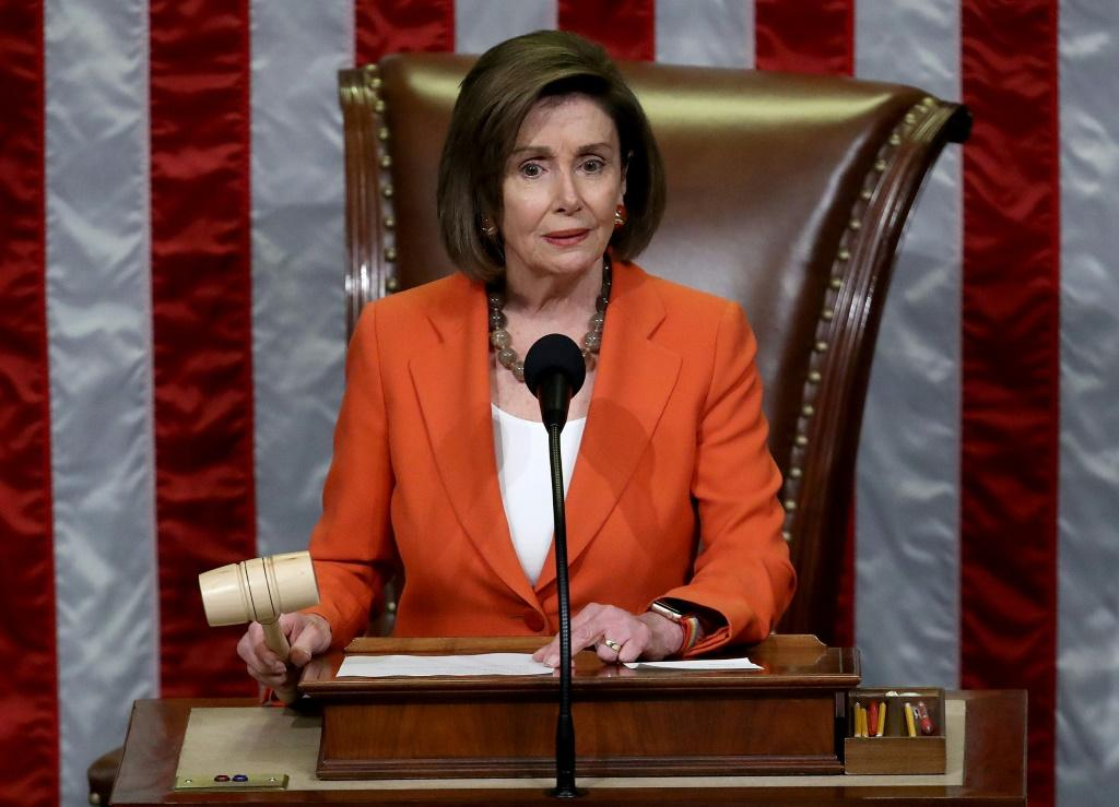 House Speaker Nancy Pelosi is seen on October 31, 2019 in the US Capitol, gaveling to a close a vote to formalize the impeachment inquiry into Donald Trump
