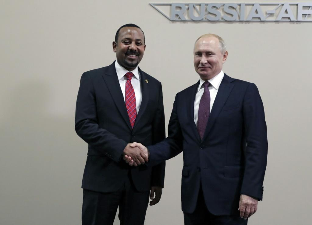 Protests against Abiy Ahmed, this year's Nobel Peace Prize laureate, erupted in Addis Ababa and in Ethiopia's Oromia region after an activist accused security forces of trying to orchestrate an attack against him; pictured October 23 2019 with Russian Pre