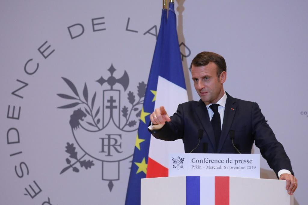 French President Emmanuel Macron told a press conference at the French embassy in Beijing that he had raised the issue of unrest in Hong Kong with Chinese leader Xi Jinping