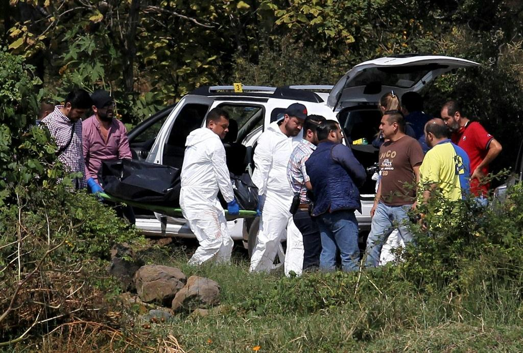 A team of forensic experts work in the site where seven bodies were found inside three abandoned vehicles