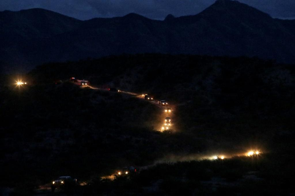 Members of the Mormon community Lebaron arrive in a convoy from the United States to the municipality of Bavispe, in the Sonora mountain range, Mexico, on November 6, 2019