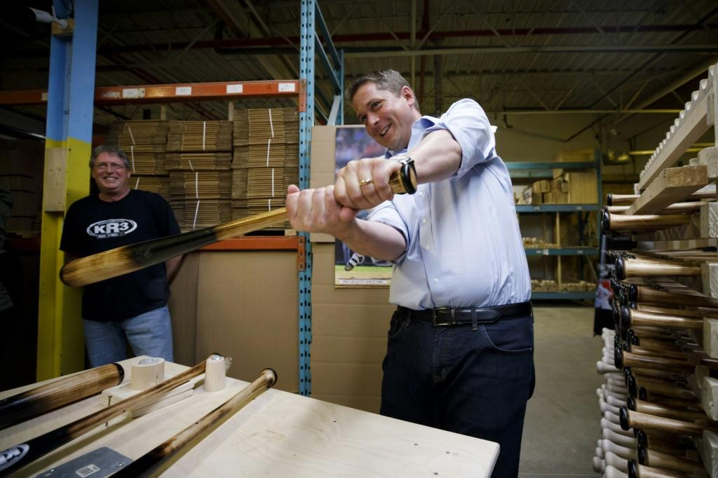 Conservative leader Andrew Scheer visited baseball bat maker KR3 Bat's manufacturing plant in September during Canada's general election, which returned Liberal Prime Minister Justin Trudeau to office