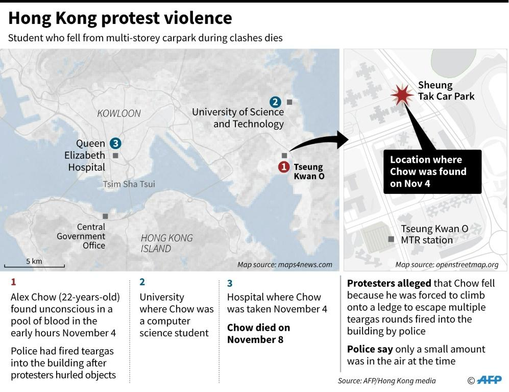 Map of Hong Kong showing the location where student Alex Chow fell from a multi-storey carpark on November 4, 2019. He later died of his injuries