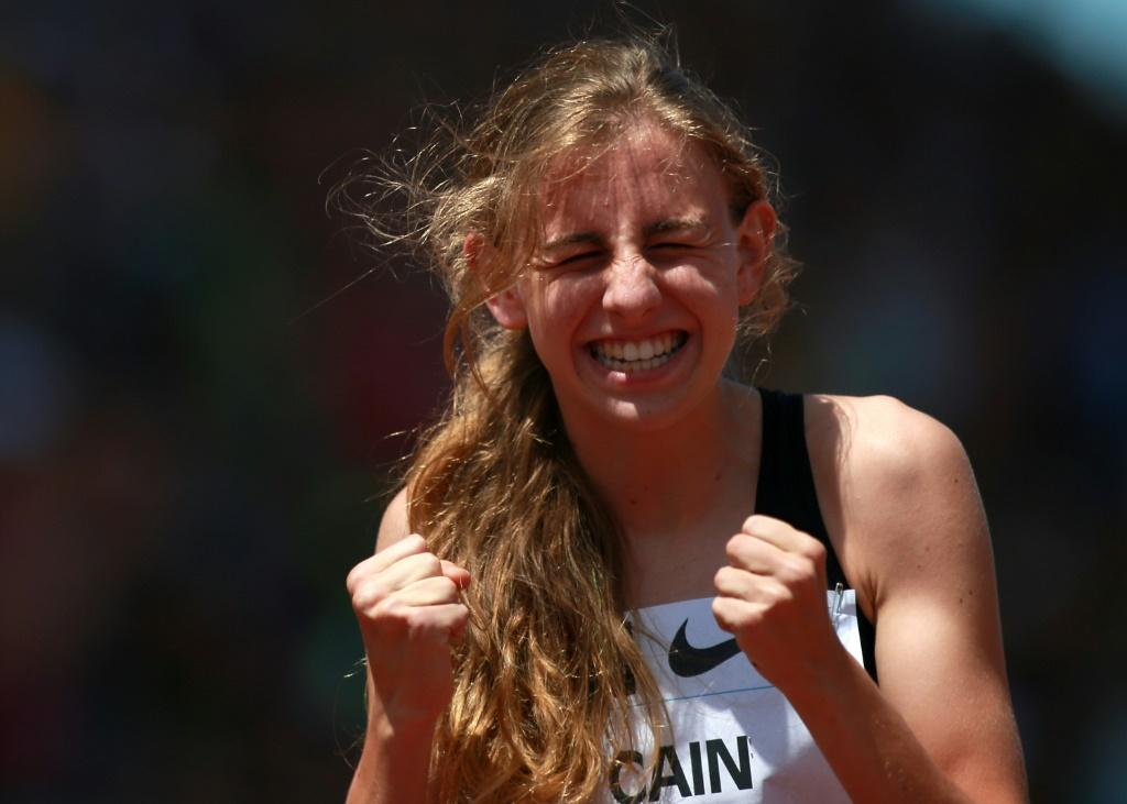 Mary Cain of the USA celebrates being the first high schooler to break the two minute mark in the 800m at the 2013 Prefontaine Classic Diamond League meeting in Eugene, Oregon