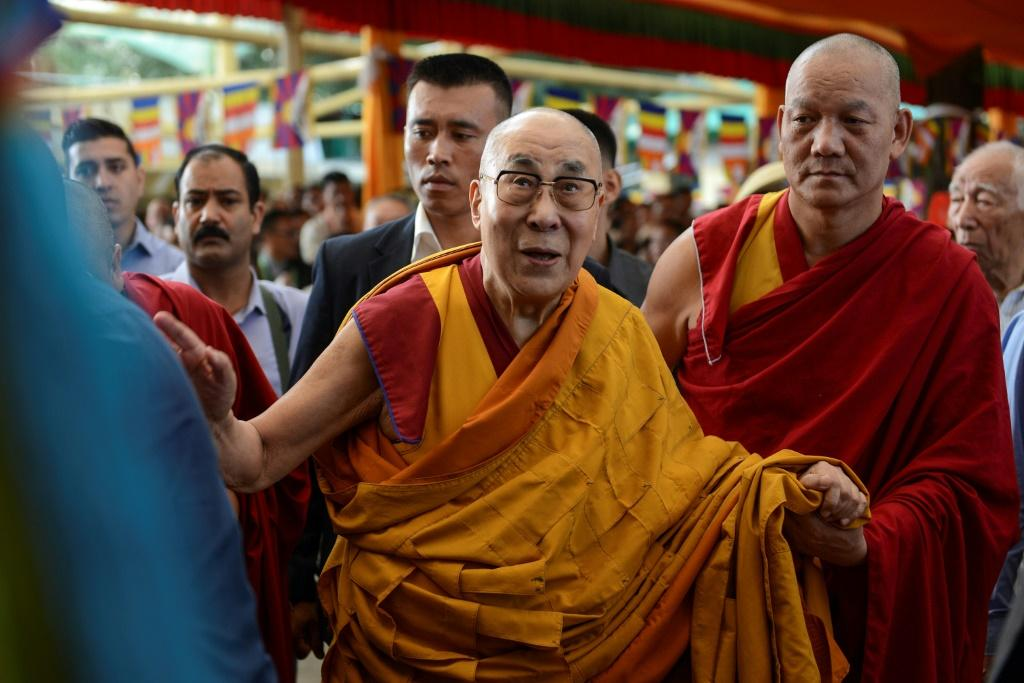 The Dalai Lama arrives for prayers wishing him a long life at the Tsuglagkhang temple in McLeod Ganj, India in September 2019 -- the US wants the UN to look at the issue of who will succeed him