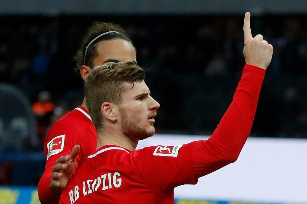 Timo Werner scored twice as RB Leipzig won 4-2 at Hertha Berlin on Saturday to climb to second in the Bundesliga table