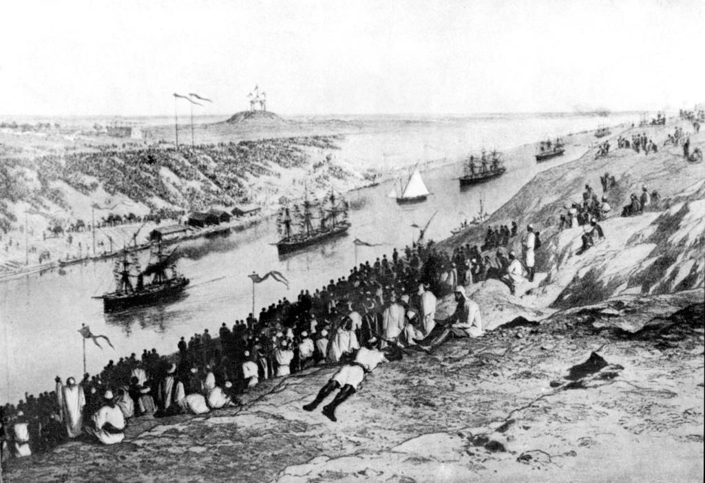 An archive photo from 1869 shows an unsigned painting of the inauguration of the Suez Canal