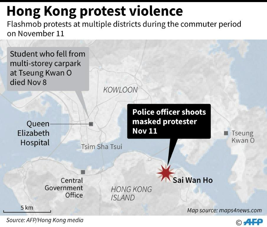 Map of Hong Kong showing the latest violence as of November 11.