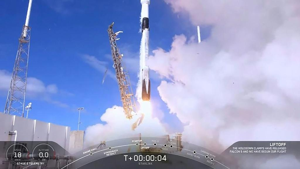 A photograph taken from a SpaceX video shows the launch of sixty mini satellites on a Falcon-9 rocket