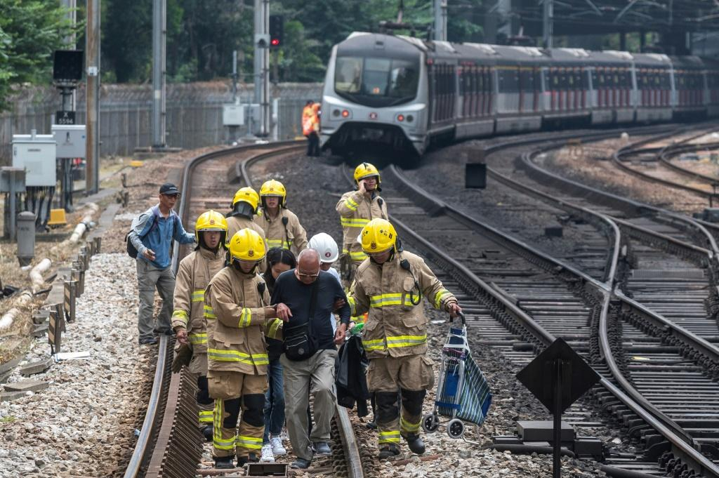 Train services were disrupted when protesters threw objects onto tracks