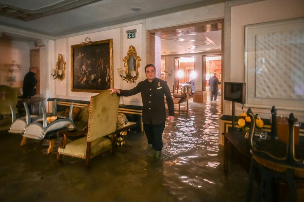 A room in the flooded Gritti Palace in Venice is pictured on November 12