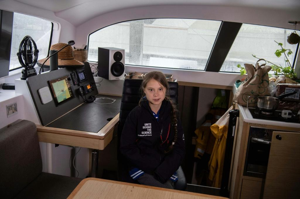 Greta tweeted a link for supporters to follow her trip to Europe: sailing-lavagabonde.com