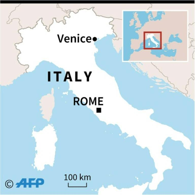 Map of Italy locating Venice which was flooded after the highest tide in more than 50 years late Tuesday.