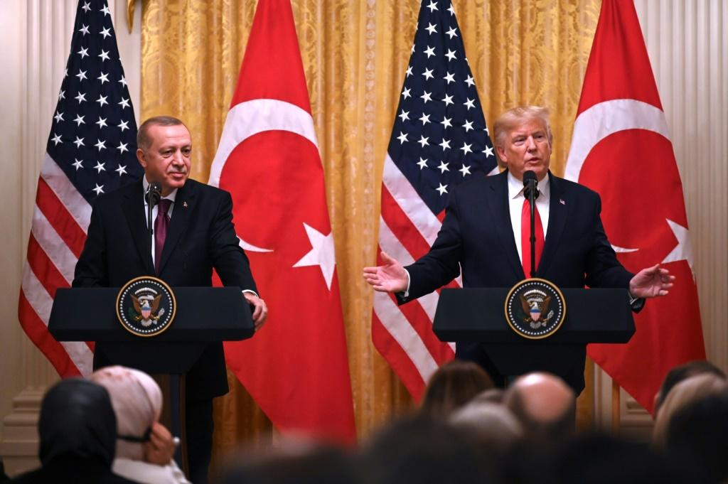 President Donald Trump steered clear of controversy as he hosted his Turkish counterpart Recep Tayyip Erdogan