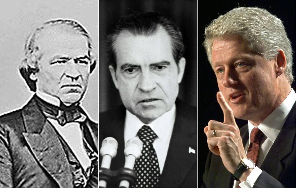 Three past US presidents who faced impeachment: Andrew Johnson (L) in 1868, Richard Nixon (C) in 1974, and Bill Clinton in 1998; both Johnson and Clinton were impeached but survived trial by the Senate, while Nixon resigned before he was formally impeache