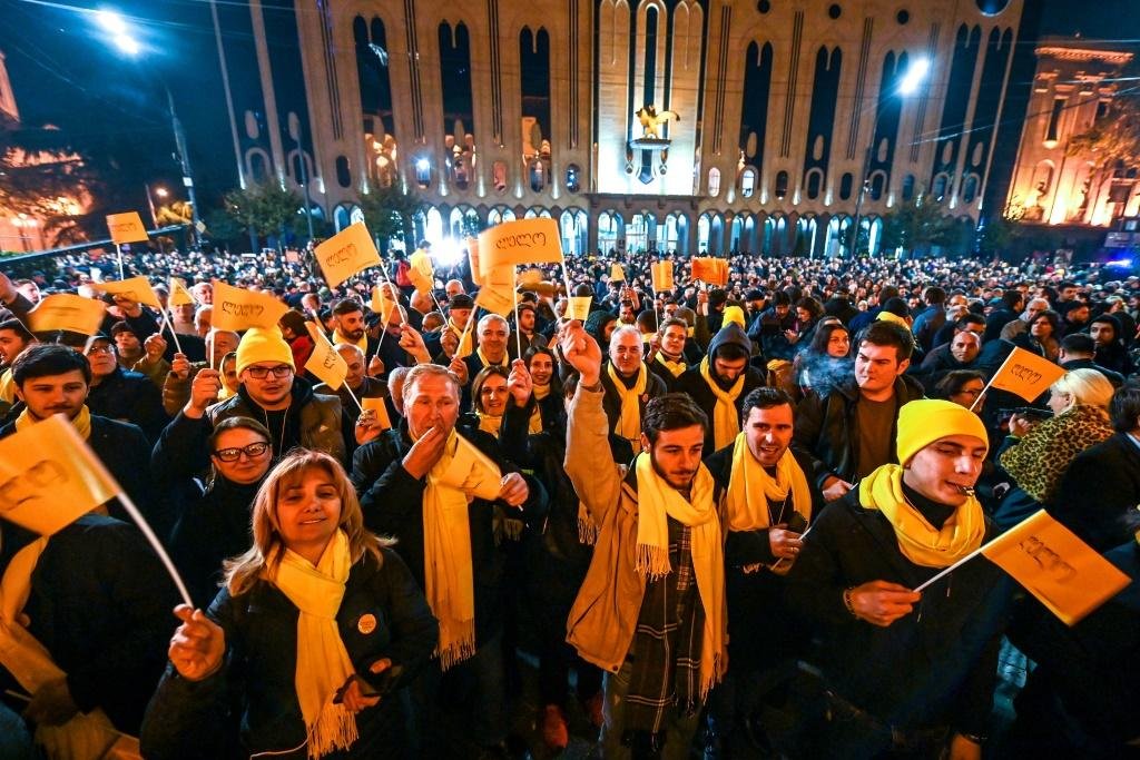 Image result for Georgia: Hundreds protest outside parliament after electoral reform law fails