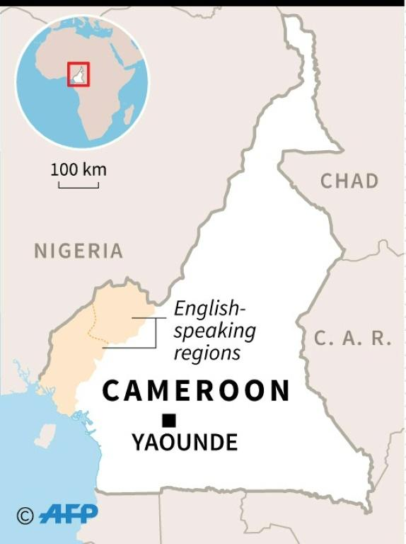 Map of Cameroon locating English-speaking regions