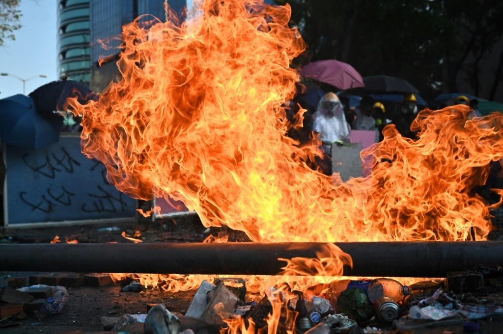 Protesters threw Molotov cocktails at police in Hong Kong