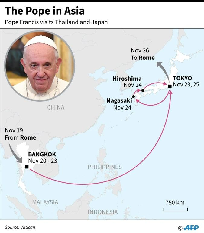 Map showing the route and dates of Pope Francis' Asia visit, Nov 19-26.