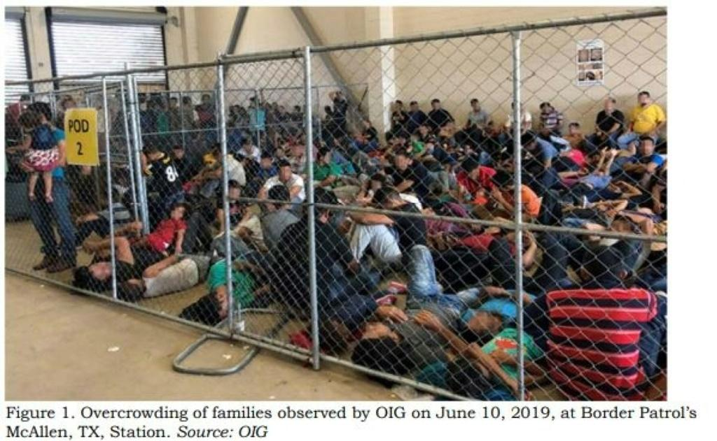 Migrant families held in a US facility -- more than 103,000 children are detention in the country, the UN says