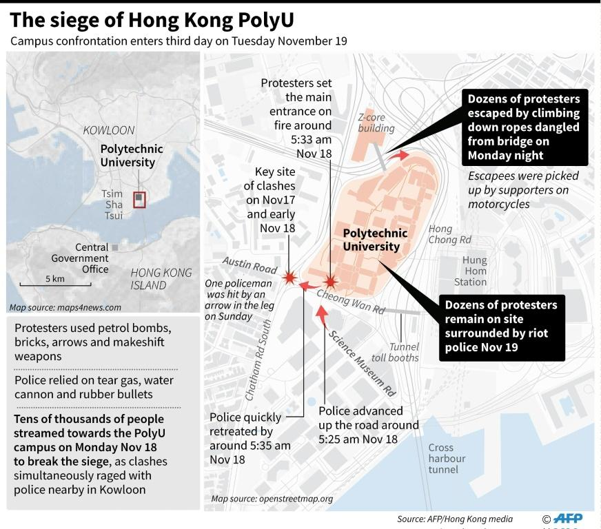 Map of Hong Kong locating the Polytechnic University where protesters were still barricaded on Tuesday morning.