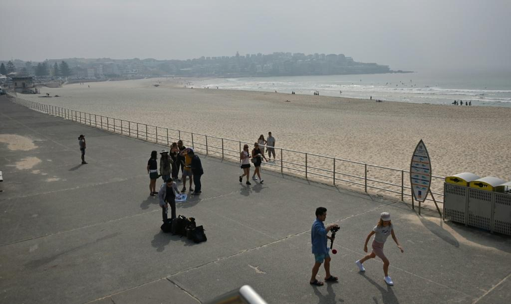 Bondi Beach is pictured as a smokey haze hangs over Sydney