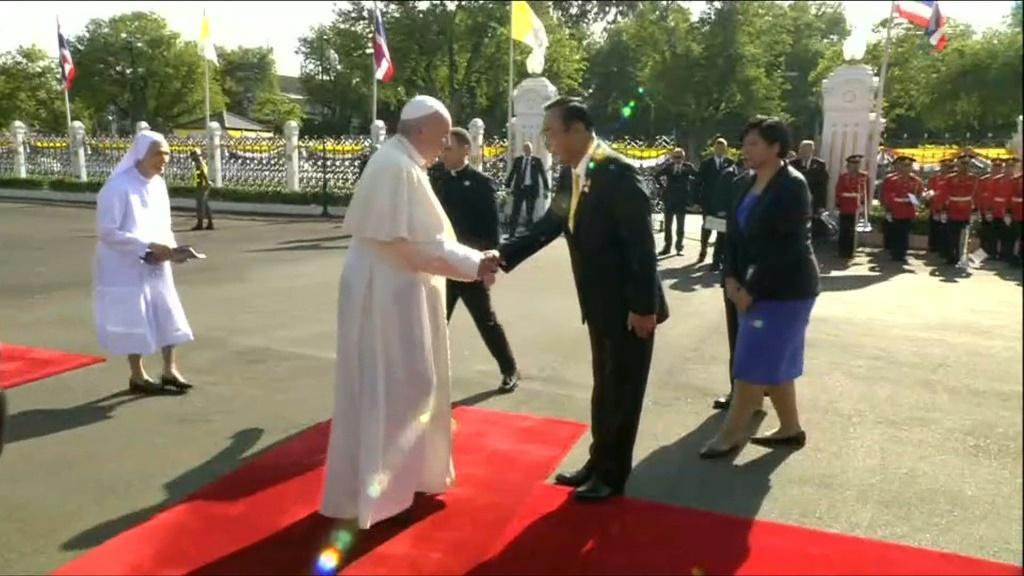 IMAGESPope Francis meets Thailand's prime minister Prayut Chan-O-Cha. The pontiff arrived in the country on Wednesday, the first leg of an Asian visit which will also take in Japan. +IMAGES CONTAIN THAI COMMENTARY FROM HOST BROADCASTER+