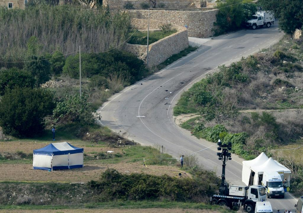 The crime scene where Caruana Galizia was killed by a car bomb close to her home in 2017