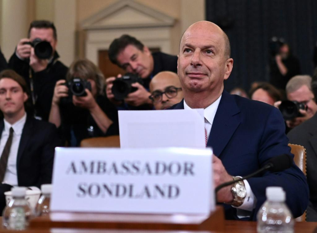 US Ambassador to the European Union Gordon Sondland testifies in the House Intelligence COmmittee's hearing on impeaching President Donald Trump