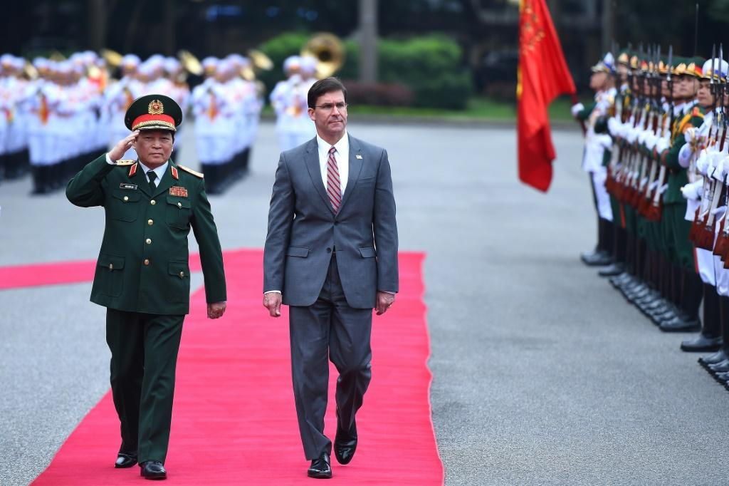 US Secretary of Defense Secretary Mark Esper (R) says relations with Vietnam are 'strengthening'