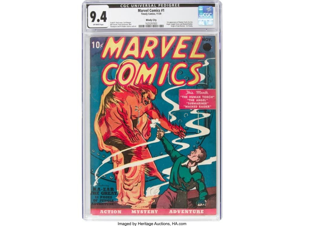 """This image courtesy of Heritage Auctions shows a copy of Marvel Comics number one, the 1939 comic book considered the """"Big Bang"""" of the Marvel Comics Superhero Universe"""