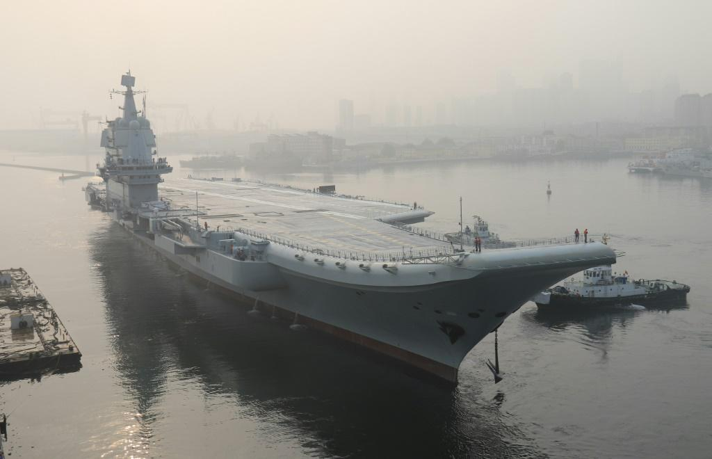 China's first domestically manufactured aircraft carrier, shown here in Dalian, sailed through the Taiwan Strait