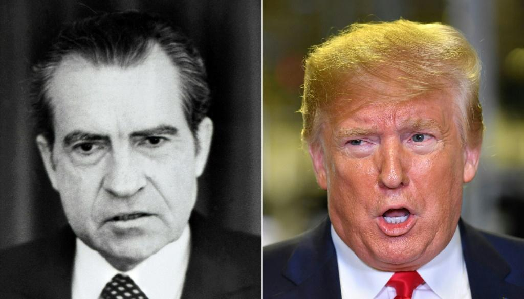 Forty-five years after Richard Nixon resigned, President Donald Trump is threatened with impeachment