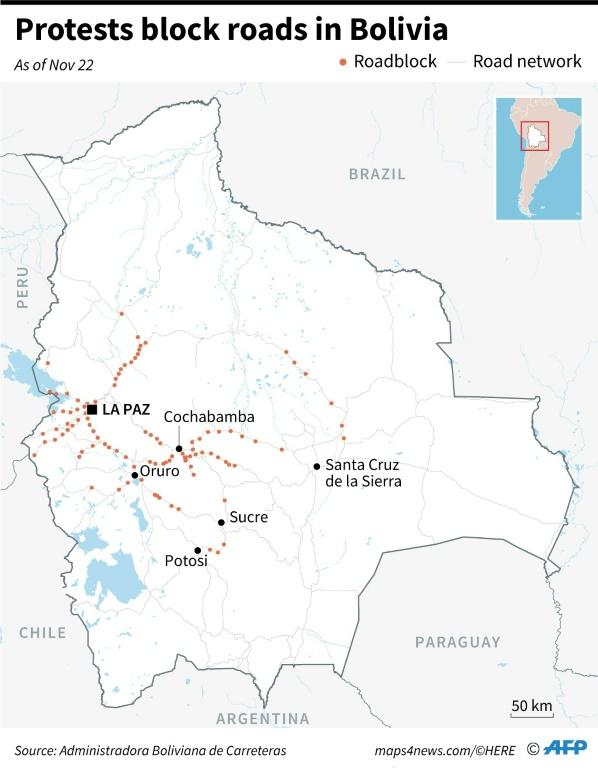 Map of Bolivia showing roads blocked by protests as of November 22