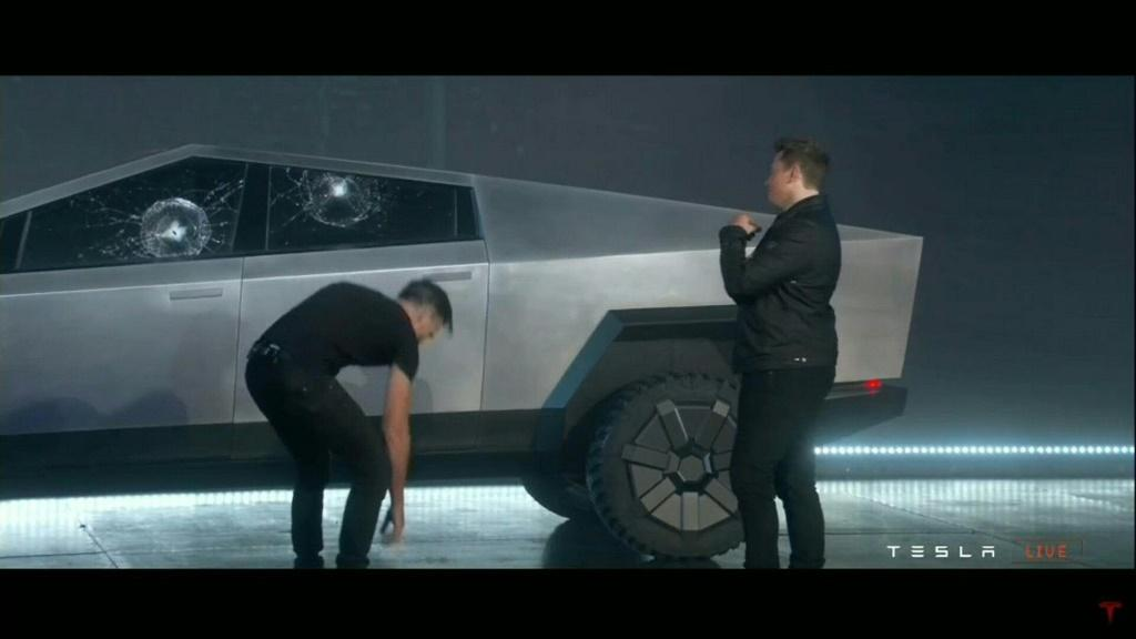 Tesla CEO Elon Musk unveils the all-electric battery-powered Tesla Cybertruck in California, but the demonstration of the vehicle's armored glass windows didn't appear to go entirely to plan.