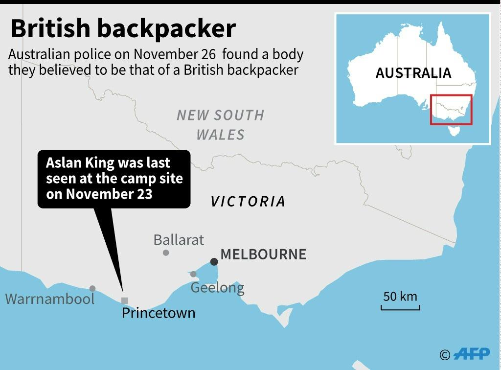 Map showing Victoria in Australia where a body was found on November 26, believed to be that of a missing British backpacker.