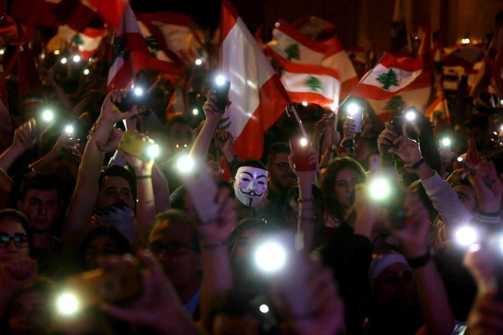 Protesters in Lebanon pictured in a civilian Independence Day parade in Beirut's Martyr Square on November 22, 2019