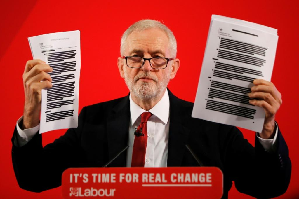 Labour leader Jeremy Corbyn holding what he claims are previously secret documents proving the UK PM wants to put the NHS on the table in a post-Brexit trade deal