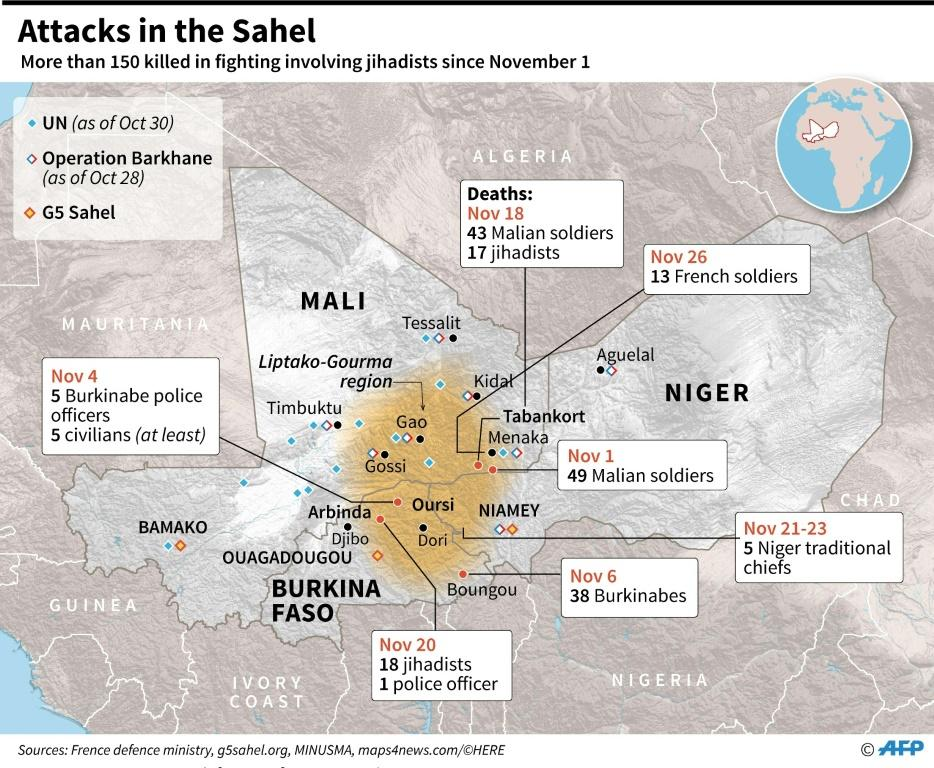 Map of Mali, Niger and Burkina Faso, locating deaths in fighting involving jihadists since November 1