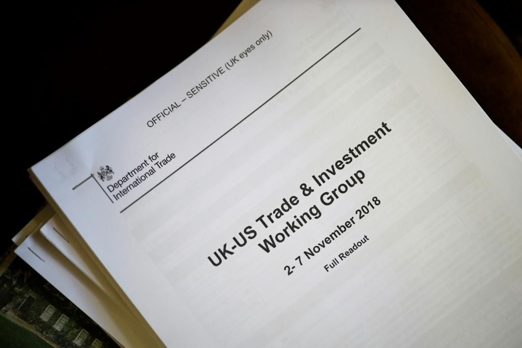 The Conservatives say the documents -- readouts of six meetings of the UK-US Trade and Investment Working Group between 2017 and 2019 -- have been online for two months