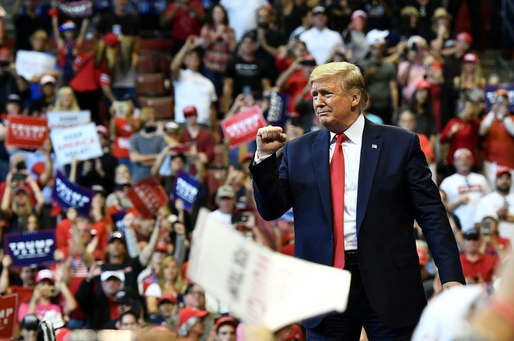 US President Donald Trump at a campaign rally in Sunrise, Florida