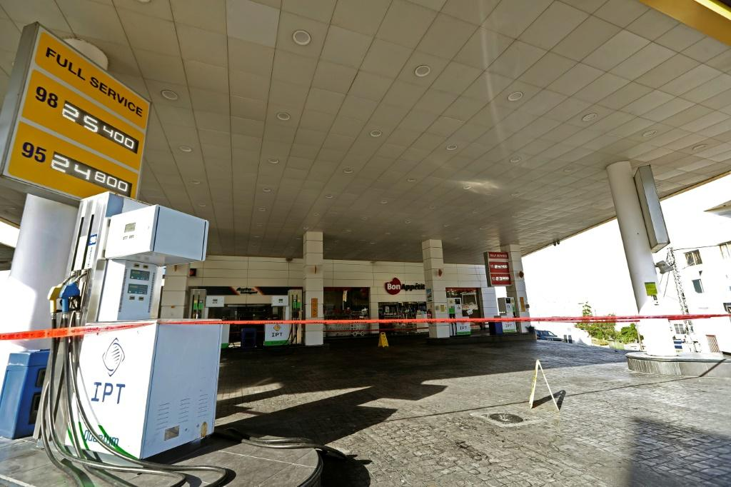A closed petrol station in Lebanon on November 28, 2019 as staion owners began an open-ended strike