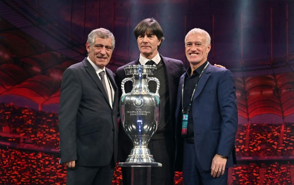 Their nations will face each other in a tough Group F at Euro 2020: Portugal coach Fernando Santos, Germany's Joachim Loew and France coach Didier Deschamps
