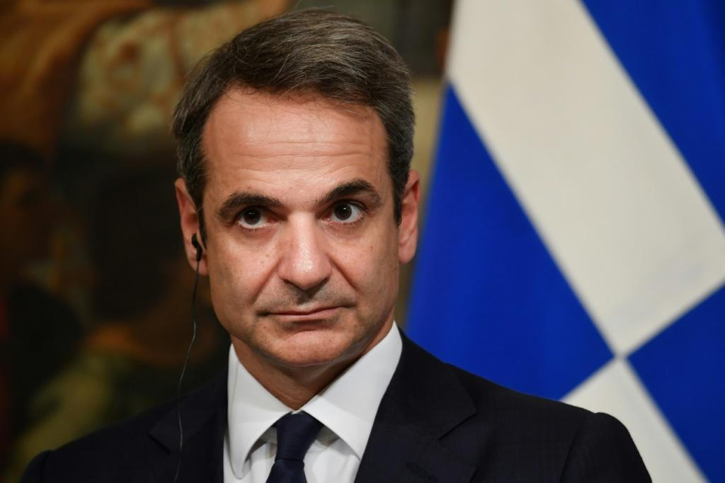 "Greek Prime Minister Kyriakos Mitsotakis (pictured November 2019) said an alliance ""cannot remain indifferent when one of its members openly violates international law"