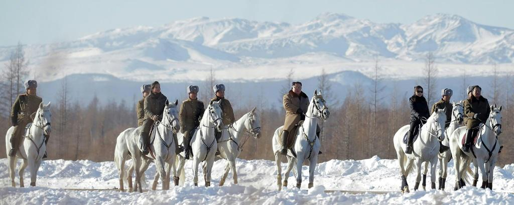 The imagery of Kim on a white horse is heavy with symbolism in North Korea