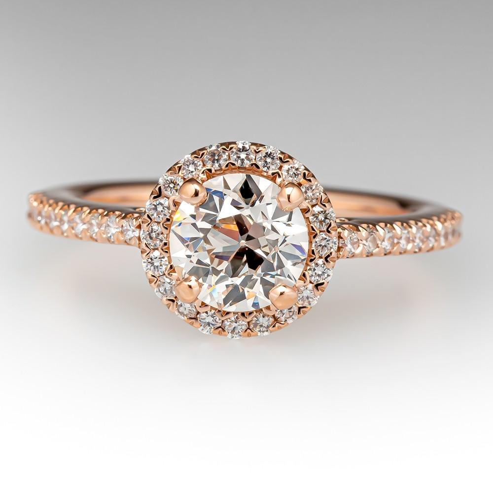HEIRLOOM OLD EUROPEAN CUT DIAMOND RING IN MODERN ROSE GOLD DIAMOND HALO .89CT L/VS2 GIA